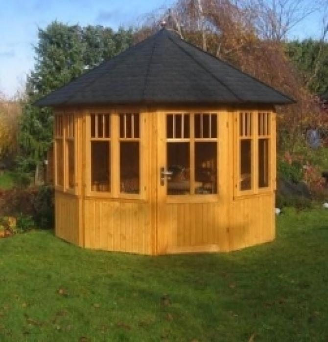 Holz Pavillon 6 Eckig Bauanleitung ~ Pavillon Loreley Classic 10 eck oval, 370 x 270 cm  Gartencenter